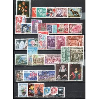 Annee complete Monaco 1973 **sans le timbre 933